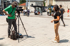 Italiaanse verslaggevers van Rai-Nieuws 24 kanaal Stock Foto