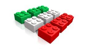 Italiaanse vlag die met blokken wordt gemaakt Stock Afbeelding
