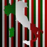 Italiaanse vlag met een contour van grens stock afbeelding