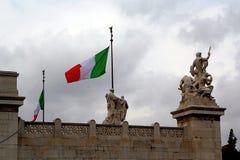 Italiaanse Vlag in Piazza Campiodoglio Royalty-vrije Stock Afbeelding