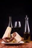 Italiaanse voedsel en wijn royalty-vrije stock foto's