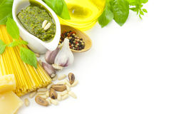 Italiaanse voedsel/pesto en deegwaren/grens Royalty-vrije Stock Fotografie