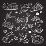 Italiaanse Voedselhand Getrokken Krabbel op Bord De Olijven en de Garnalen van de pizzakaas vector illustratie
