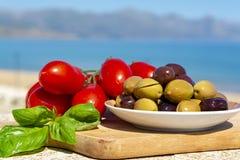 Italiaanse voorgerecht groene en zwarte olijven in olijfolie, tomaten en gemarineerde artisjokken dicht omhoog royalty-vrije stock foto's