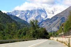 Italiaanse weg aan de Kleine Sint-bernard Stock Afbeeldingen