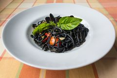 Italiaanse zwarte spaghetti Stock Foto