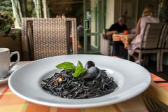 Italiaanse zwarte spaghetti Stock Foto's
