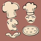 Italian. Simple outline drawings of chef and pizza, , for logo or decorative needs Vector Illustration