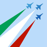 Italian acrobatic air force silhouette. Illustration for the famous italian acrobatic air force, frecce tricolori Stock Photo