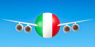 Italian airlines and flying& x27;s, flights to Italy concept. 3D rend Royalty Free Stock Image