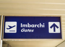 Italian Airport sign to Gates Stock Photos