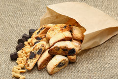Italian almond biscuit (cookies). The crunchy Italian cookie has delicious variations like chocolate, almond, cranberry, and pistachio. Great for holiday food Royalty Free Stock Image