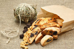 Italian almond biscuit (cookies). The crunchy Italian cookie has delicious variations like chocolate, almond, cranberry, and pistachio. Great for holiday food Stock Photos