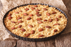Italian almond cake Sbrisolona close up in baking dish. horizon Royalty Free Stock Photo