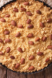 Italian almond cake Sbrisolona close up in baking dish. vertica Stock Images