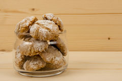 Italian almond cookies in jar on wooden table 3 Royalty Free Stock Photography