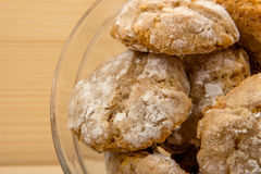 Italian almond-flavored cookies amaretti close up Royalty Free Stock Photography