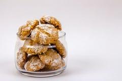 Italian almond-flavored cookies in glass jar 2 Stock Photos