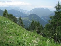 Italian Alp View. Sauris di Sopra and Lake of Sauris viewed from Casera Razzo mountain road Royalty Free Stock Image