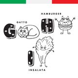 Italian alphabet. Cat, hamburger, lettuce. Vector letters and characters. Stock Photos