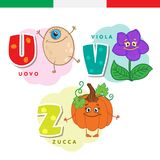Italian alphabet. Egg, violet, pumpkin. Vector letters and characters. Stock Photography