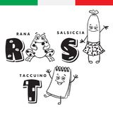 Italian alphabet. Frog, sausage, notepad. Vector letters and characters. Royalty Free Stock Images