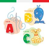 Italian alphabet. Needle, whale, dog. Vector letters and characters. Italian alphabet. Needle, whale, dog Vector letters and characters Royalty Free Stock Images