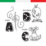 Italian alphabet. Needle, whale, dog. Vector letters and characters. Royalty Free Stock Photography