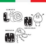 Italian alphabet. Snail, hazelnut, jellyfish. Vector letters and characters. Stock Images