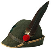 Italian alpine hat. Old hat in the use of armed forces in the Italian alps Royalty Free Stock Image