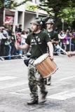 Italian alpine military band in parade Royalty Free Stock Photography