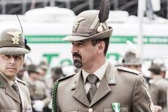 Italian alpine military men: proud expressions Stock Images