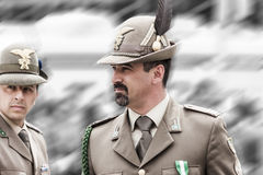 Italian alpine military men: proud expressions Stock Photography