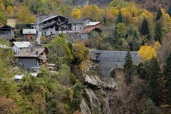 View of the alpine mountain village of Pondel, Aosta, Italy Royalty Free Stock Photos