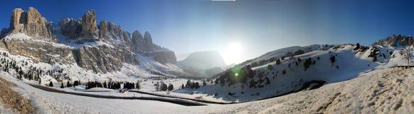Italian Alps. A panoramic shot of the area near Sella Pass, Italian Alps stock images