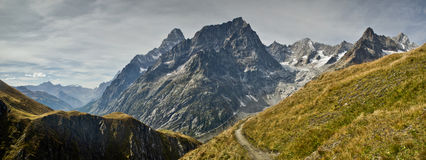 Italian Alps. Views of Mont-Blanc with dramatic grey sky , Italian Alps Royalty Free Stock Photos