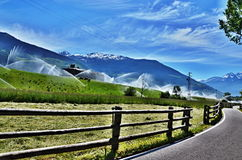 Italian Alps-bike path to Laders Stock Image