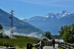 Italian Alps-bike path to Laders Royalty Free Stock Image