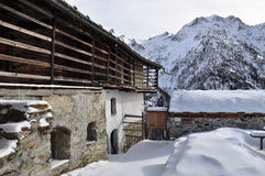 Italian Alps, Gressoney valley: Alpine architecture Stock Image