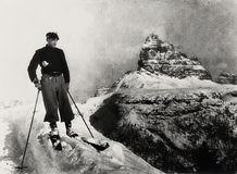 Italian Alps 1938, lonely vintage skier with  mountain winter landscape Royalty Free Stock Photos