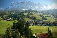 Italian Alps Mountain and Village Scene Stock Photos
