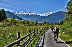Italian Alps-unknown cyclists on the path Royalty Free Stock Photo