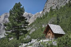 Italian Alps, wooden chapel Royalty Free Stock Images