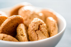 Italian Amaretti Biscuits. In White Bowl Stock Photos