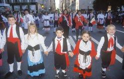 Italian-American Children Marching in Columbus Day Parade, New York City, New York Stock Photos