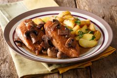 Italian American food: Chicken in Marsala wine with fried mushro Royalty Free Stock Photography