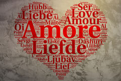 Italian: Amore. Heart shaped word cloud Love, grunge background Royalty Free Stock Photography