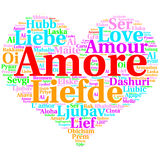 Italian: Amore. Heart shaped word cloud Love, on white Royalty Free Stock Photos