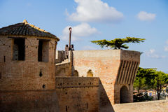 Italian ancient stone fortress. View of italian old fortress in Mondavio Royalty Free Stock Images