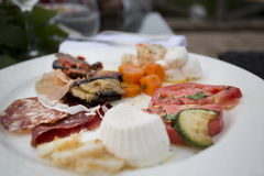 Italian anti pasti starter selection Stock Photo